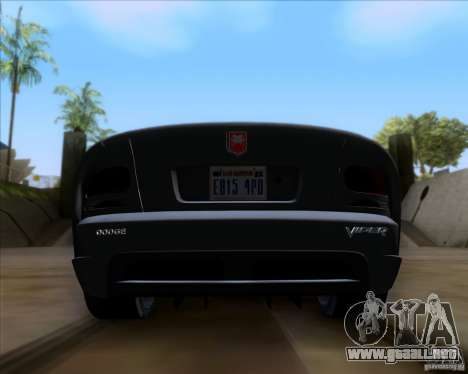 Dodge Viper SRT-10 Coupe para visión interna GTA San Andreas