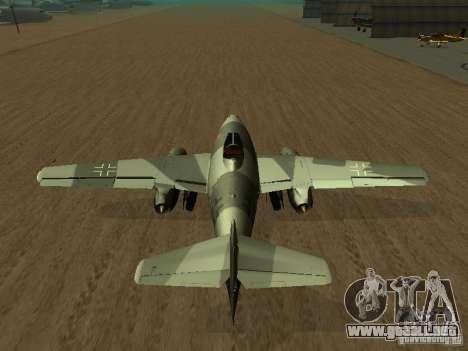 Messerschmitt Me262 para GTA San Andreas vista posterior izquierda