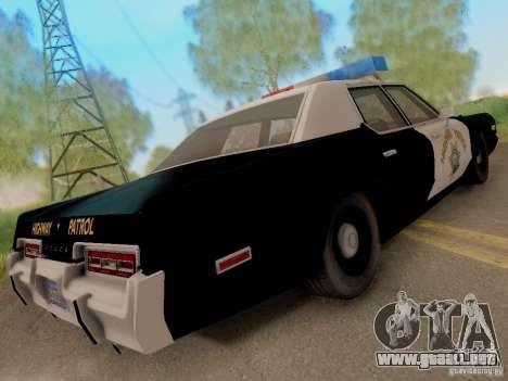Dodge Monaco 1974 California Highway Patrol para GTA San Andreas vista posterior izquierda
