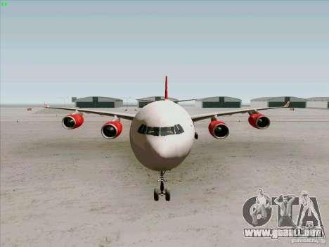 Airbus A-340-600 Virgin para visión interna GTA San Andreas