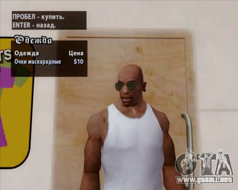 Gafas de sol verdes aviadores para GTA San Andreas sexta pantalla