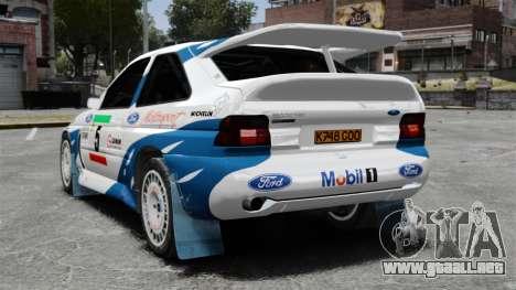 Ford Escort RS Cosworth para GTA 4 Vista posterior izquierda