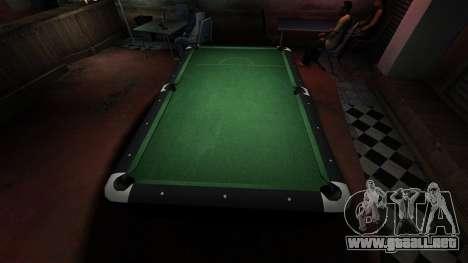 Mesa de billar superior en la barra de 8 bolas para GTA 4