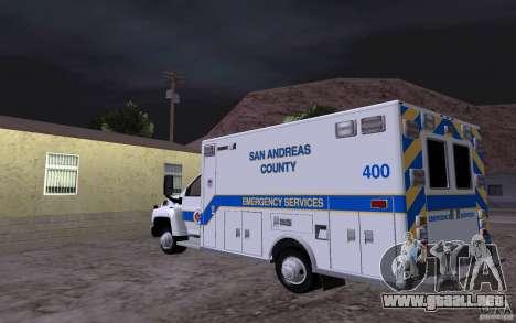 Chevrolet C4500 Ambulance para GTA San Andreas vista posterior izquierda