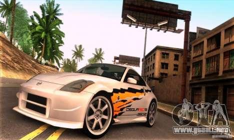 Nissan 350Z Tunable para GTA San Andreas vista posterior izquierda