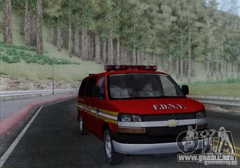 Chevrolet Express Special Operations Command para GTA San Andreas vista hacia atrás