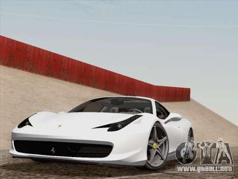 Ferrari 458 Italia 2010 para GTA San Andreas vista hacia atrás