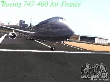 Boeing 747-400 Air France para vista inferior GTA San Andreas