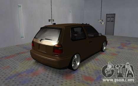 Volkswagen Golf Mk3 para GTA San Andreas vista posterior izquierda