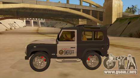 Land Rover Defender Sheriff para GTA San Andreas left