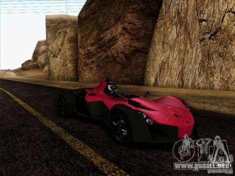 BAC MONO para GTA San Andreas vista posterior izquierda