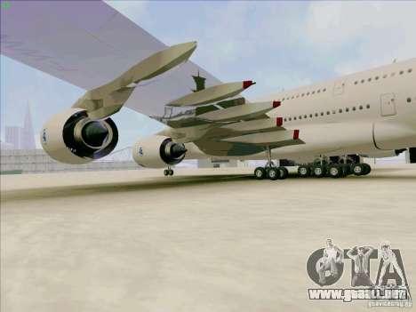 Airbus A380-800 para GTA San Andreas vista hacia atrás