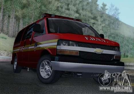 Chevrolet Express Special Operations Command para GTA San Andreas vista posterior izquierda