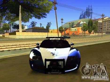 Bugatti Veyron Federal Police para GTA San Andreas vista hacia atrás