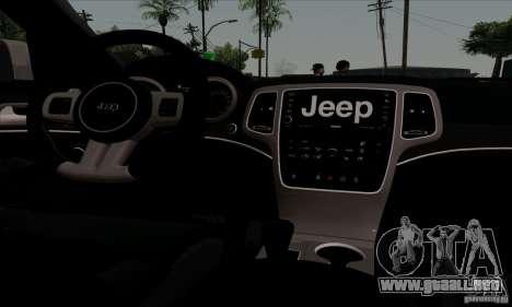 Jeep Grand Cherokee SRT-8 2013 para vista lateral GTA San Andreas