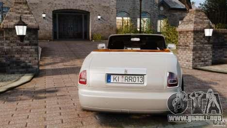 Rolls-Royce Phantom Convertible 2012 para GTA 4 Vista posterior izquierda