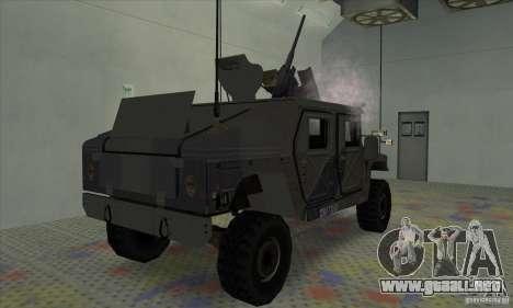 Humvee of Mexican Army para GTA San Andreas vista posterior izquierda