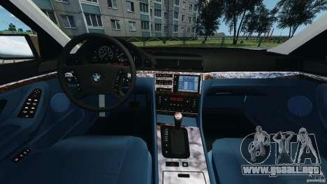 BMW 750iL E38 1998 para GTA 4 vista hacia atrás