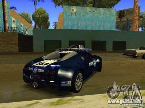 Bugatti Veyron Federal Police para GTA San Andreas vista posterior izquierda