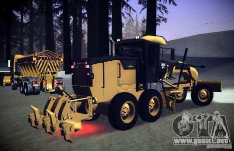 Caterpillar 140AWD Motorgrader para GTA San Andreas vista posterior izquierda