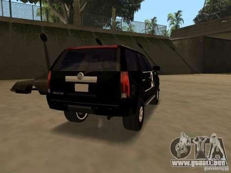 Cadillac Escalade Tallahassee para GTA San Andreas vista posterior izquierda