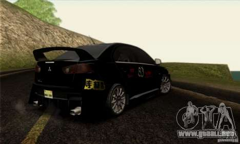 Mitsubishi Lancer Evolution X 2008 para vista inferior GTA San Andreas