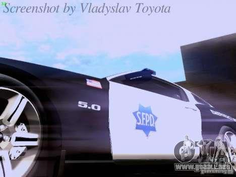 Ford Mustang GT 2011 Police Enforcement para la vista superior GTA San Andreas