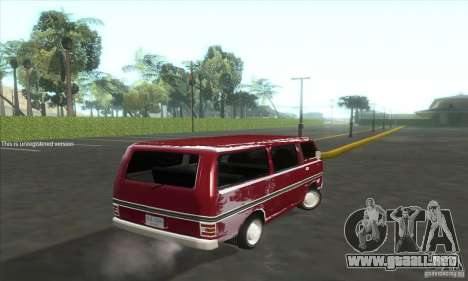 Nissan Caravan E20 para GTA San Andreas vista posterior izquierda
