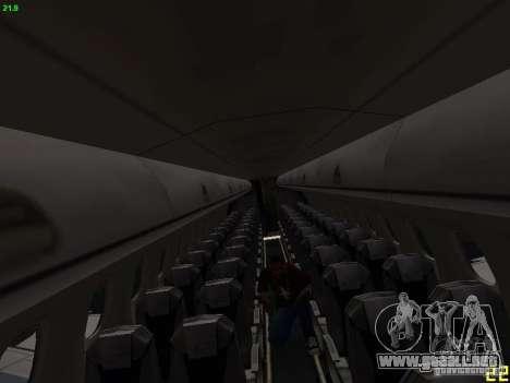 Embraer ERJ 190 USAirways para visión interna GTA San Andreas