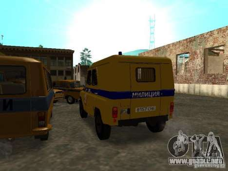 Policía UAZ 3151 para GTA San Andreas vista posterior izquierda