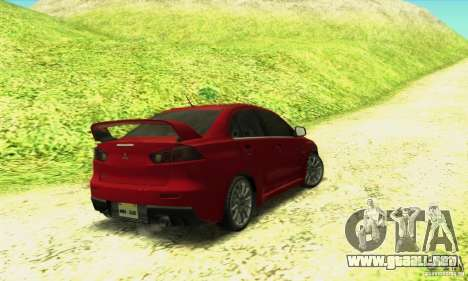 Mitsubishi Lancer Evolution X 2008 para GTA San Andreas left