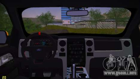 Ford F-150 SVT Raptor para GTA Vice City vista posterior