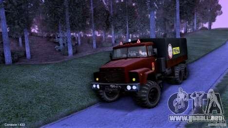 Escuela de manejo de camiones para GTA San Andreas vista hacia atrás