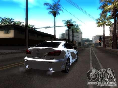 Lexus IS F para GTA San Andreas vista hacia atrás