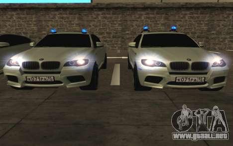 BMW x 6 M con destellar las luces PPP para la vista superior GTA San Andreas