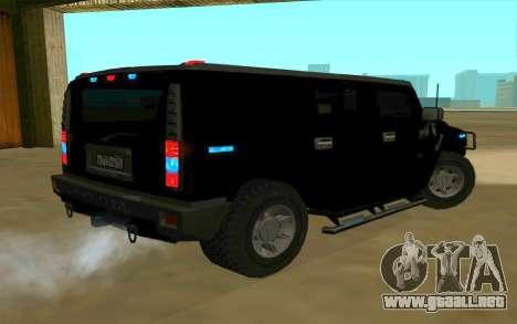 Hummer H2 para GTA San Andreas vista hacia atrás
