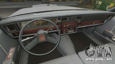 Chevrolet Caprice 1989 para GTA 4 vista hacia atrás