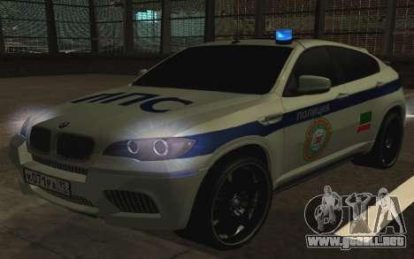 BMW x 6 M con destellar las luces PPP para GTA San Andreas