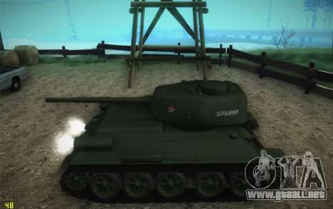 Modelo T-34-85 1945 para GTA San Andreas vista posterior izquierda
