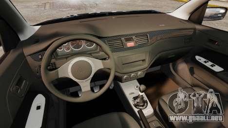 Mitsubishi Lancer Evolution VIII MR CobrazHD para GTA 4 vista interior