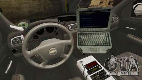 Chevrolet Suburban GTA V Blaine County Sheriff para GTA 4 vista hacia atrás