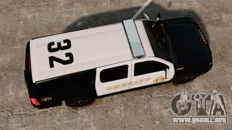 Chevrolet Suburban GTA V Blaine County Sheriff para GTA 4 visión correcta