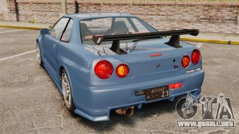 Nissan Skyline R34 GT-R Z-tune para GTA 4 Vista posterior izquierda