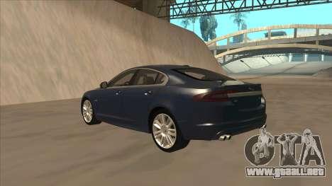 Jaguar XFR 2010 v1.0 para GTA San Andreas vista hacia atrás