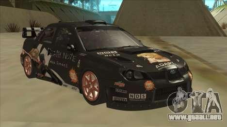 Subaru Impreza WRC Itasha para GTA San Andreas left