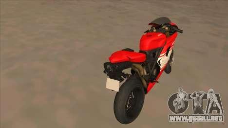 Ducatti Desmosedici RR 2012 para GTA San Andreas vista posterior izquierda