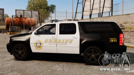 Chevrolet Suburban GTA V Blaine County Sheriff para GTA 4 left