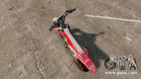 Honda CRF 450 Turbo Motard para GTA 4 Vista posterior izquierda