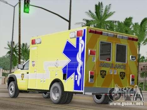 Dodge Ram Ambulance BCFD Paramedic 100 para GTA San Andreas vista posterior izquierda