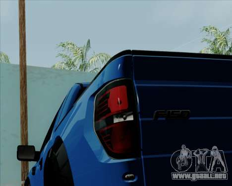 Ford F-150 SVT Raptor 2011 para vista lateral GTA San Andreas